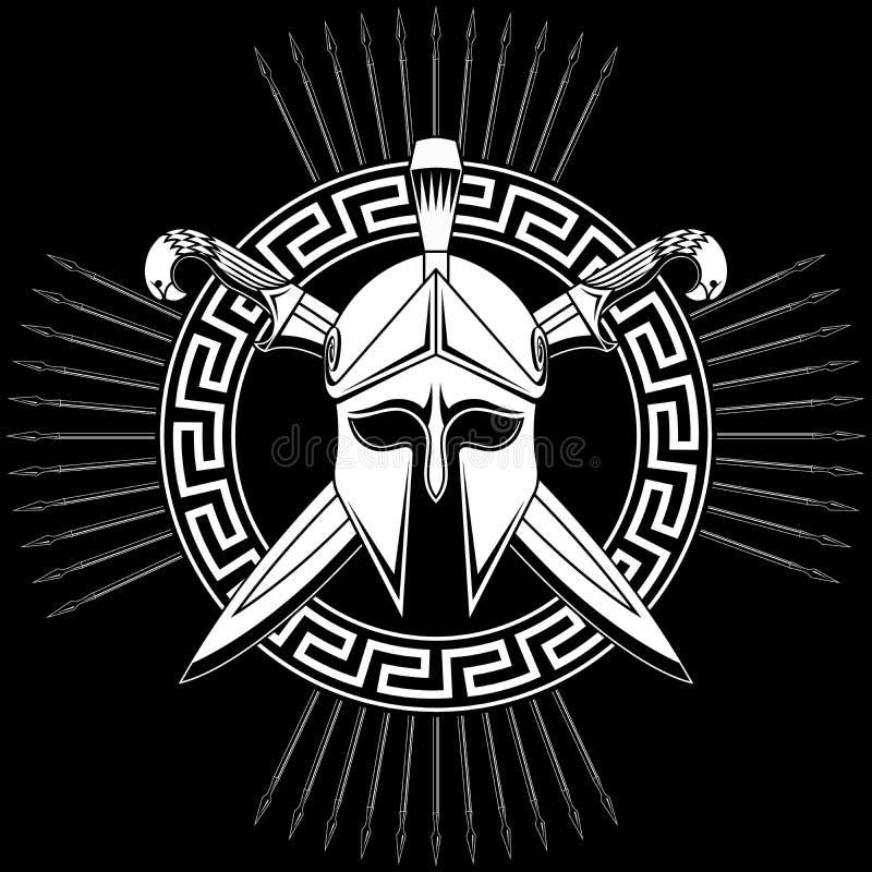 Greek helmet with crossed swords. stock photo