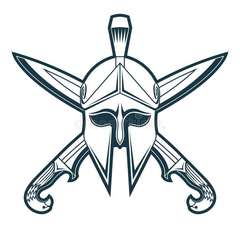 Greek helmet with crossed swords royalty free stock photo