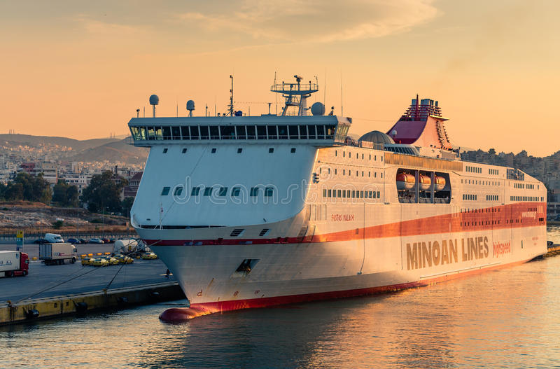 Greek highspeed cruise ship. Of Minoan Lines stopover in the port of Athens, Greece stock photography