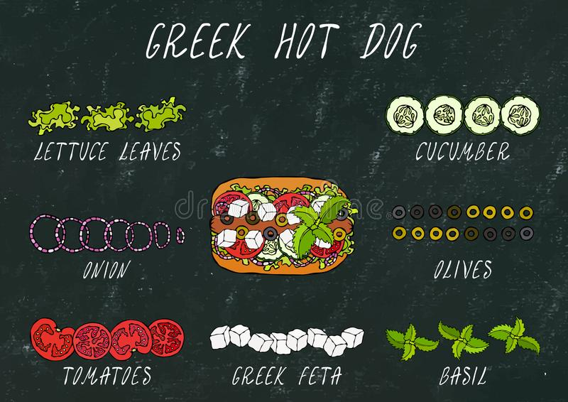 Greek Hot Dog Ingredients Constructor. Feta Cheese, Basil. Olives, Lettuce Salad, Tomato, Cucumber. Fast Food Collection. Hand Dra royalty free stock photography