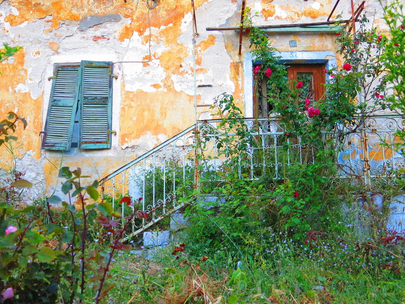 Greek house on Lefkada island royalty free stock photography