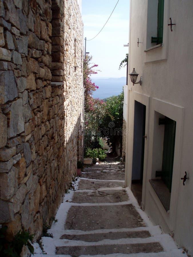 Street on skiathos island stock image