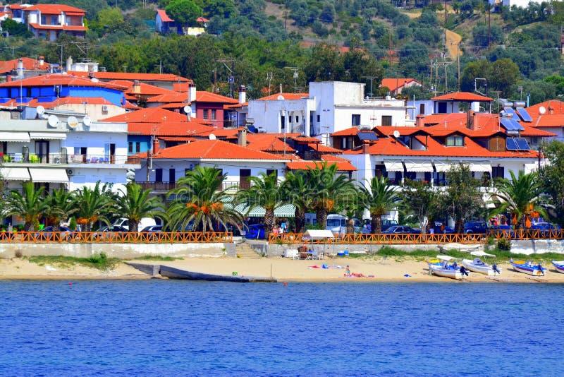 Greek idyllic village summer beach royalty free stock images