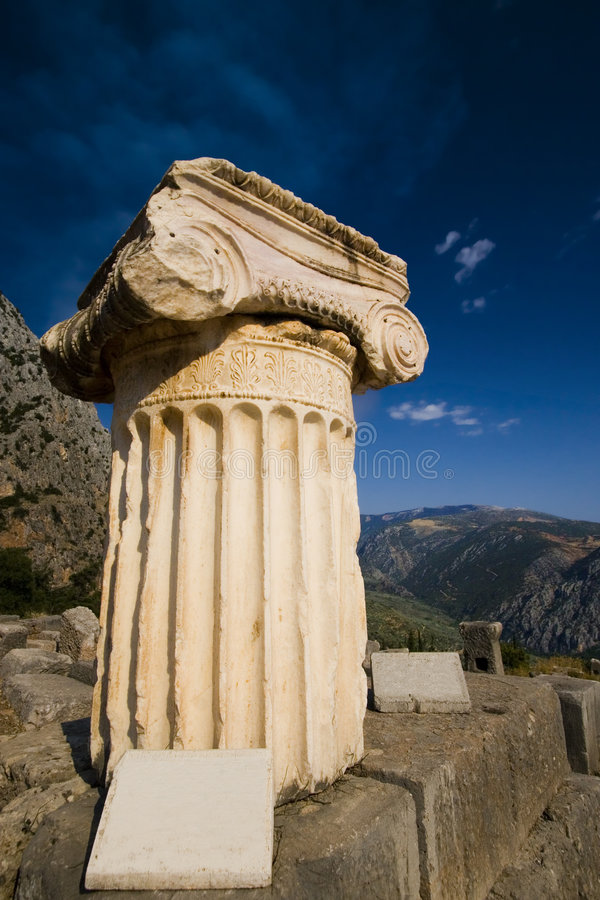 Greek Ionic column with capital royalty free stock photo