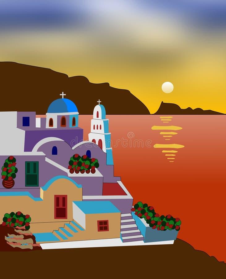 Download Greek island stock illustration. Image of colorful, greek - 16220147