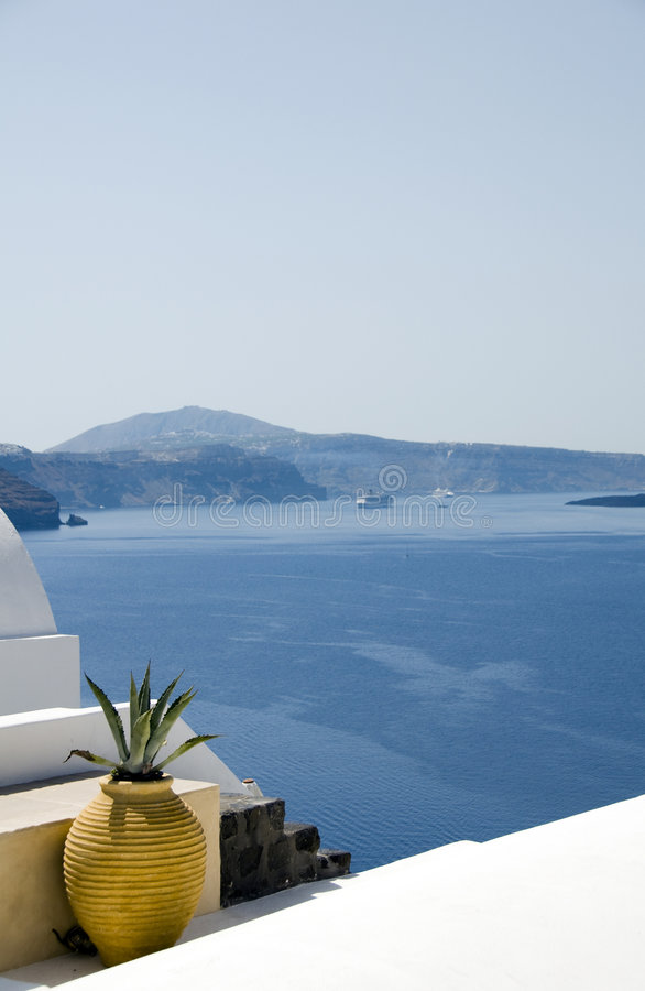 Greek Island Architecture Over Mediterranean Sea Royalty Free Stock Photography