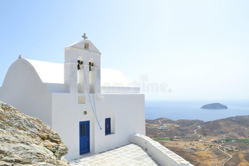 Greek Island church. Traditional church in Serifos island, Greece royalty free stock image