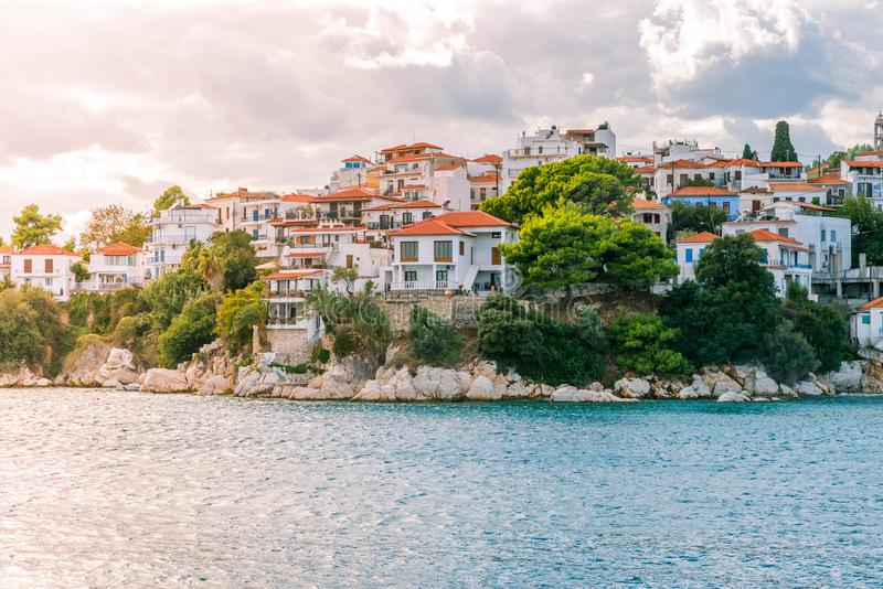 Greek island city stock photos