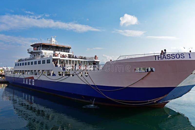 Greek Island Ferry, Thassos. A small roll-on roll-off inter-island ferry on Thassos, a North Aegean Sea Greek Island, Greece royalty free stock images
