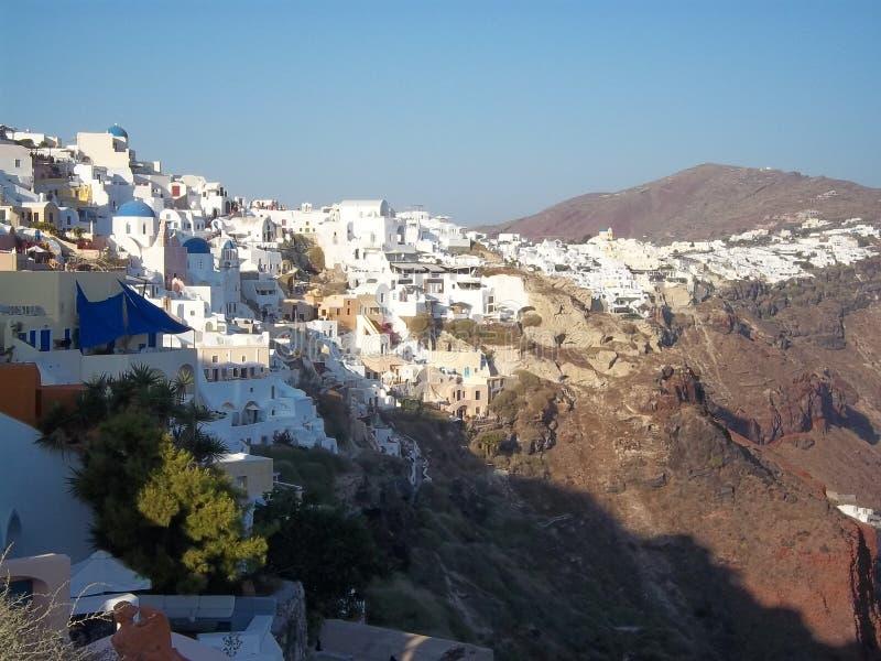 Greek island Santorini at the Mediterranean Sea royalty free stock photos