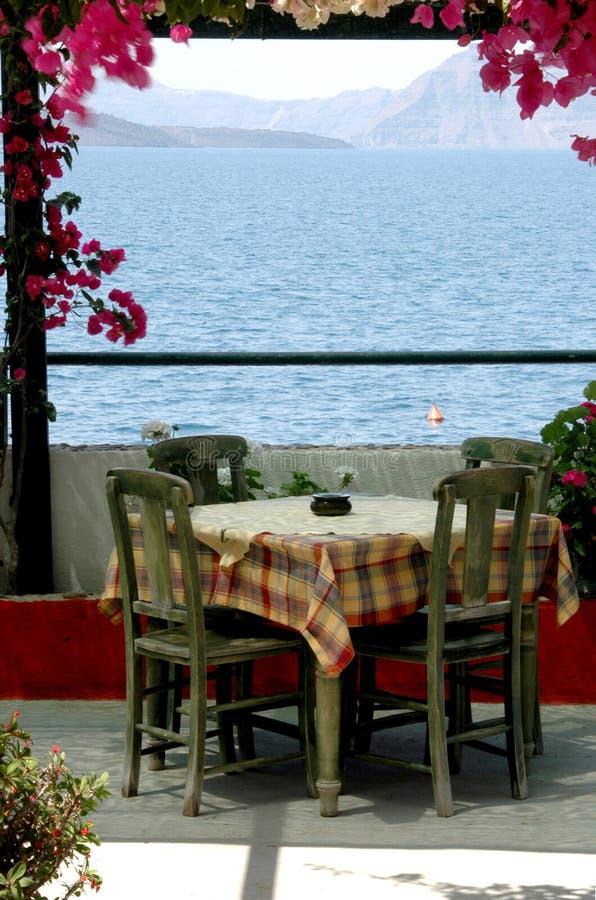 Greek island taverna scene Santorini stock photo