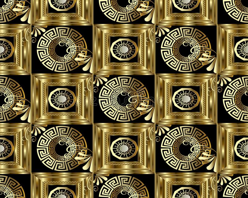 Greek key meander gold 3d seamless pattern. Vector abstract geom. Etric background. Vintage ancient greek ornament with flowers, circles, frames, squares stock illustration