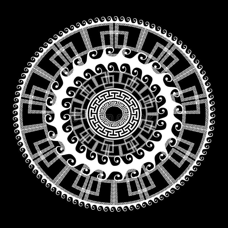 Greek key meanders geometric ornamental round mandala pattern. M stock illustration