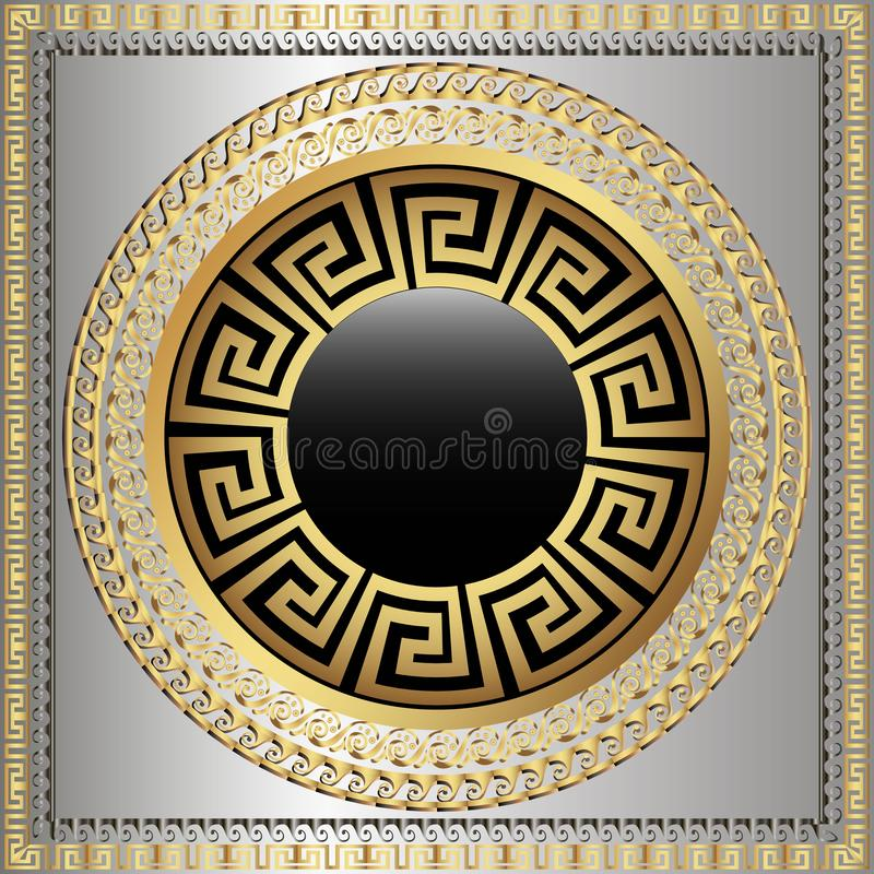 Greek key meanders round 3d mandala pattern. Ornamental grecian style greece square frame background. Modern geometric abstract royalty free illustration