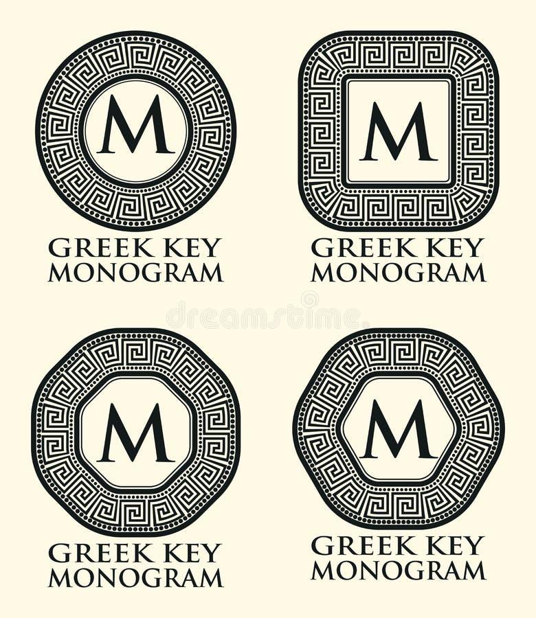 Greek Key Ornament Monogram Set Vector Stock Vector Illustration