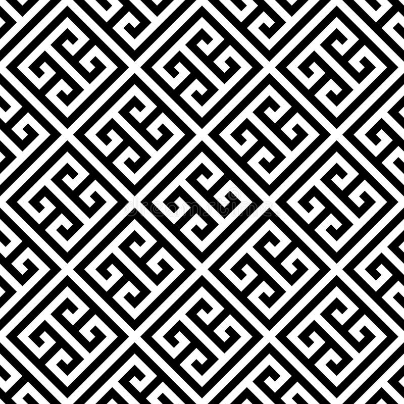 Greek key seamless pattern background in black and white. Vintage and retro abstract ornamental design. Simple flat vector illustration