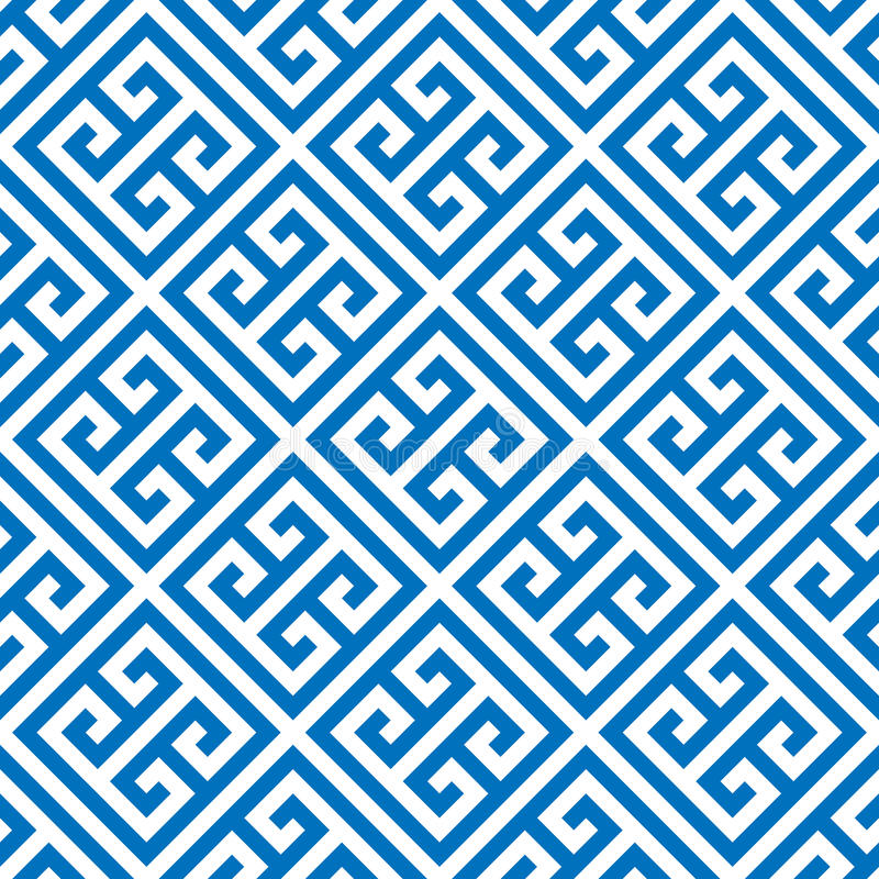 Greek key seamless pattern background in blue and white. Vintage and retro abstract ornamental design. Simple flat stock illustration