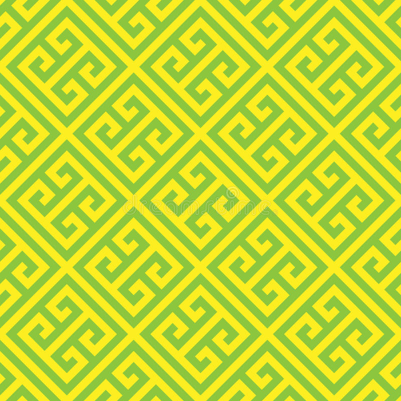 Free Greek Key Seamless Pattern Background In Green And Yellow. Vintage And Retro Abstract Ornamental Design. Simple Flat Royalty Free Stock Photos - 94414298