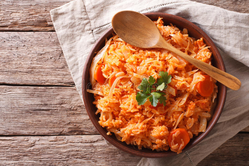 Greek lahanorizo rice with cabbage in a bowl. horizontal top vie stock images