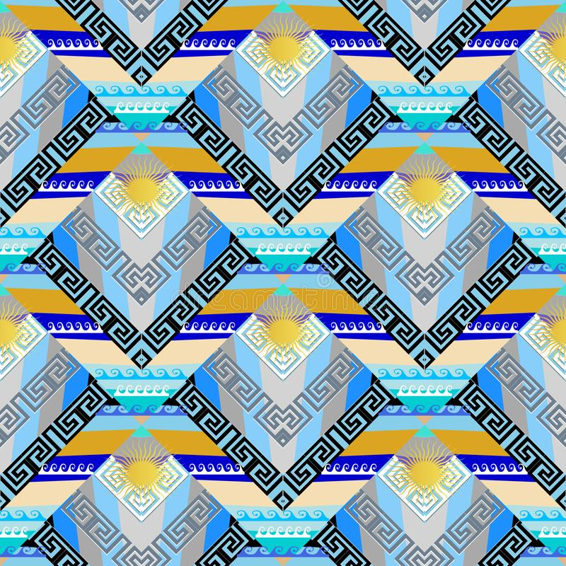 Greek marine seamless pattern. Geometric abstract nautical strip. Ed background. Modern tiled aqueous sunny ornament with geometry shapes, stripes, waves, sun vector illustration