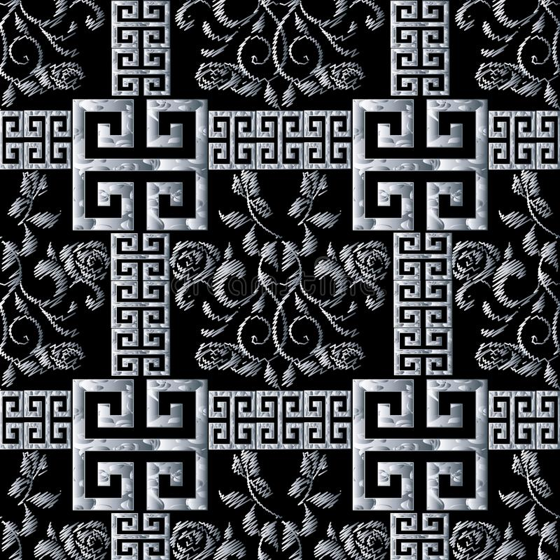 Greek meanders seamless pattern. Floral black white tapestry roses background. Modern 3d wallpaper. Embroidery vector roses. Flowers, 3d meander, greek key royalty free illustration
