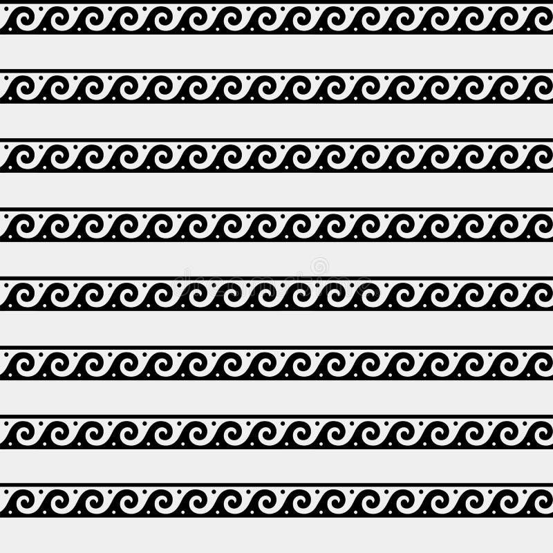 Greek minimal monochrome pattern, background, ornament. Ancient style, symbols, waves royalty free illustration