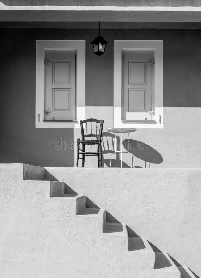 Greek minimalist architecture and furniture on the island of Kefalonia in the Ionian Sea, Greece royalty free stock photo