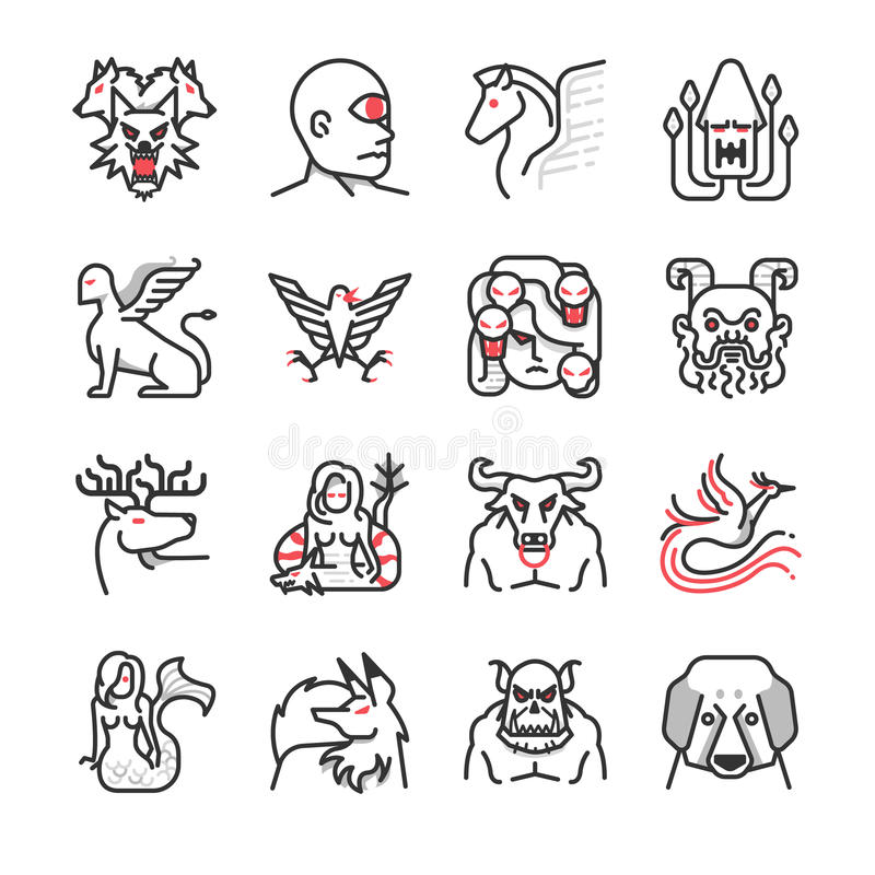 Greek monster mythology icon 2 vector illustration