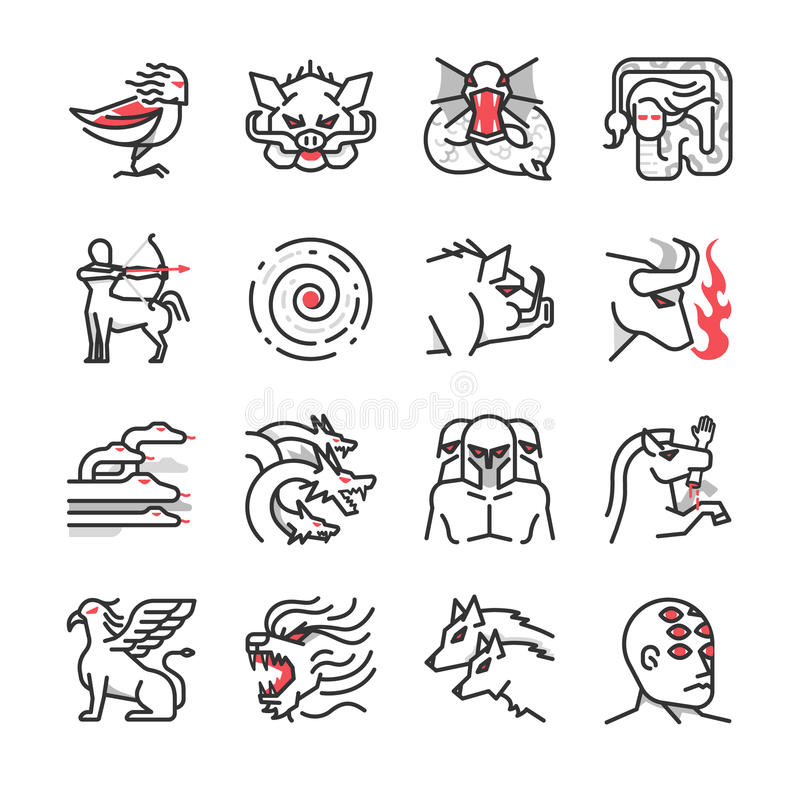 Greek monster mythology icon 1 stock illustration