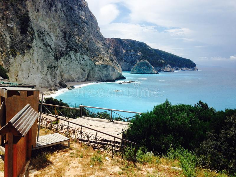Greek mountains and beach stock photo