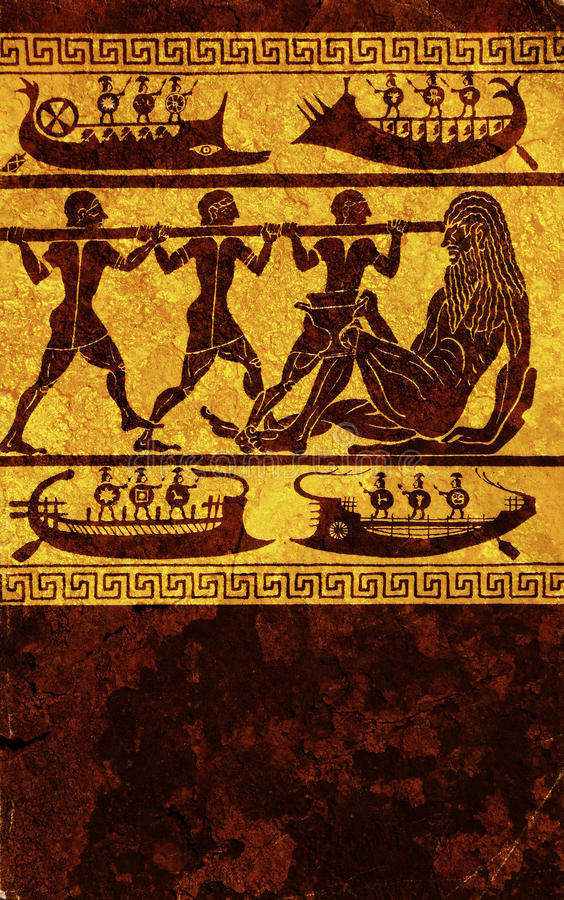 Greek mythology. Antique wall engraving of greek mythology royalty free stock photography
