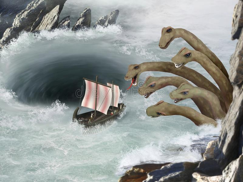Greek Mythology - Scylla and Charybdis - Journey of Odysseus. This is a picture of the journey of Odysseus` ship through the waters of the six-headed sea monster stock illustration