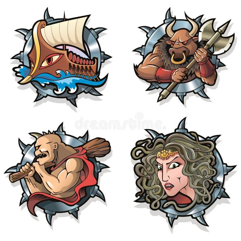 Greek myths. Argo, Minotaur, Cyclops and Gorgon from Greek mythology, vector illustration royalty free illustration