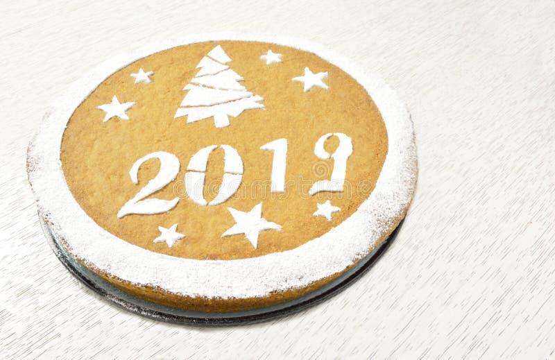 Greek new year's cake vasilopita 2019 stock photos