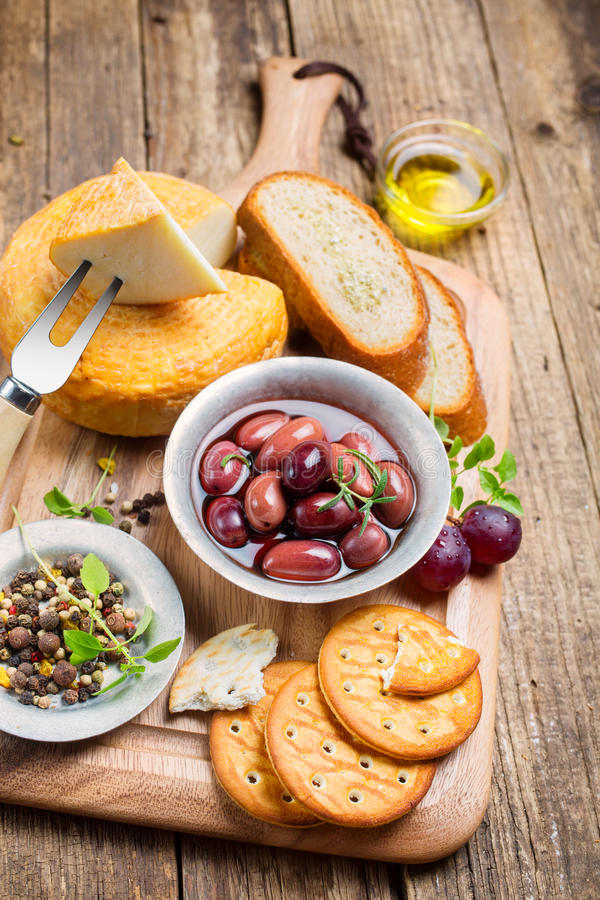 Greek olives and cheese stock photos