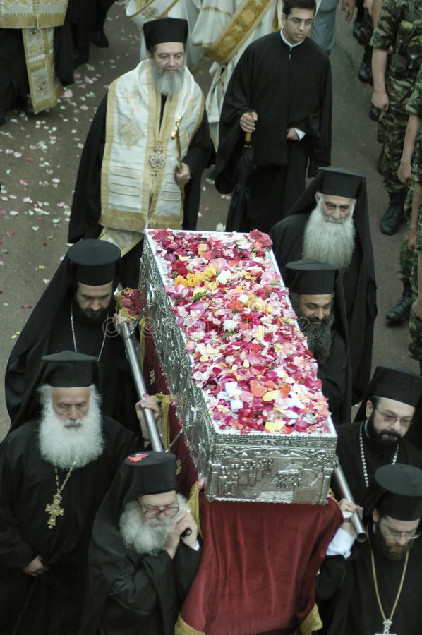 Greek Orthodox Archbishops carrying the Relics Of Saint John the Russian royalty free stock photography
