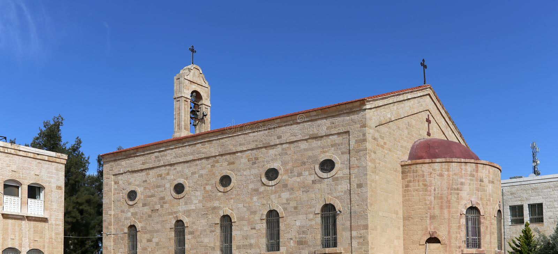 Greek Orthodox Basilica of Saint George in town Madaba, Jordan royalty free stock images