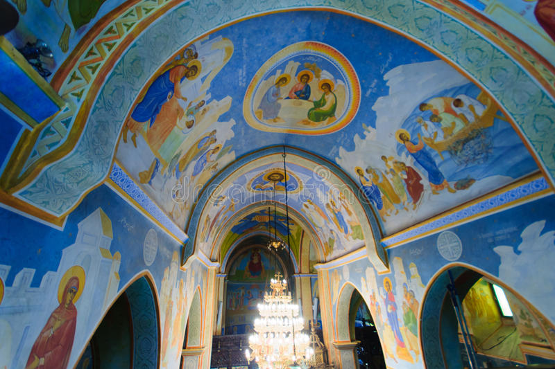 The Greek Orthodox church of Annunciation. NAZARETH, ISRAEL - APR 05, 2015: The decorated ceiling of the Greek Orthodox church of Annunciation, in Nazareth stock photography