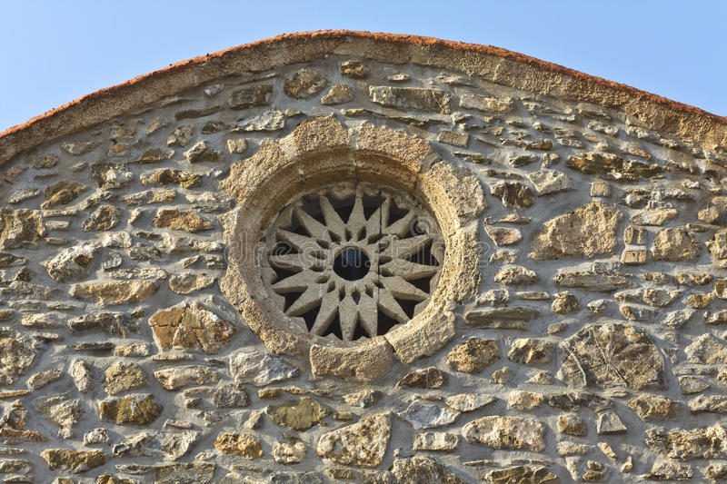 Greek orthodox church detail from Rhodes stock photography