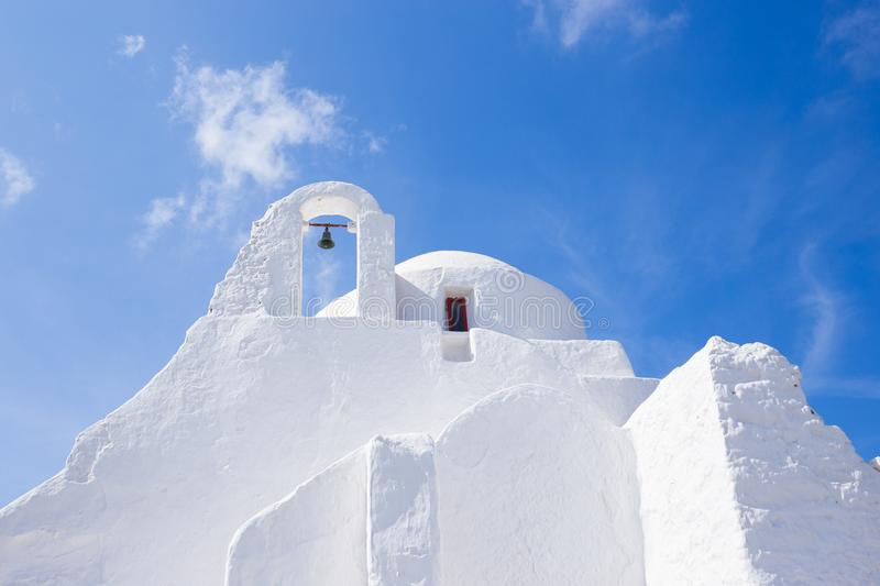 Greek Orthodox church in Mykonos. This is the most popular and most photographed of the 400 churches on the whole island of Mykonos. What makes this church so stock photography