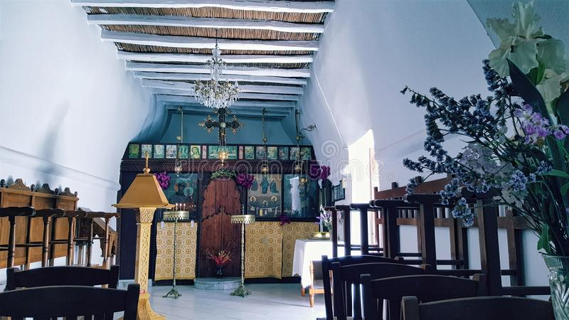 Greek Orthodox church in Parikia, Paros Island, Greece royalty free stock photos