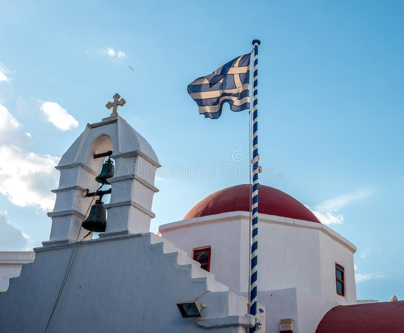 Greek orthodox church with red dome stock photography