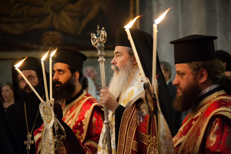 Greek Orthodox mass at Church of the Holy Sepulchre stock photo