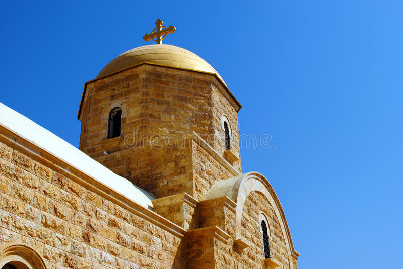 Greek orthodox St. John the Baptist Church, Jordan River. A Greek orthodox church near Al-Maghtas, the site of the baptism of Jesus Christ. (Arabic royalty free stock images