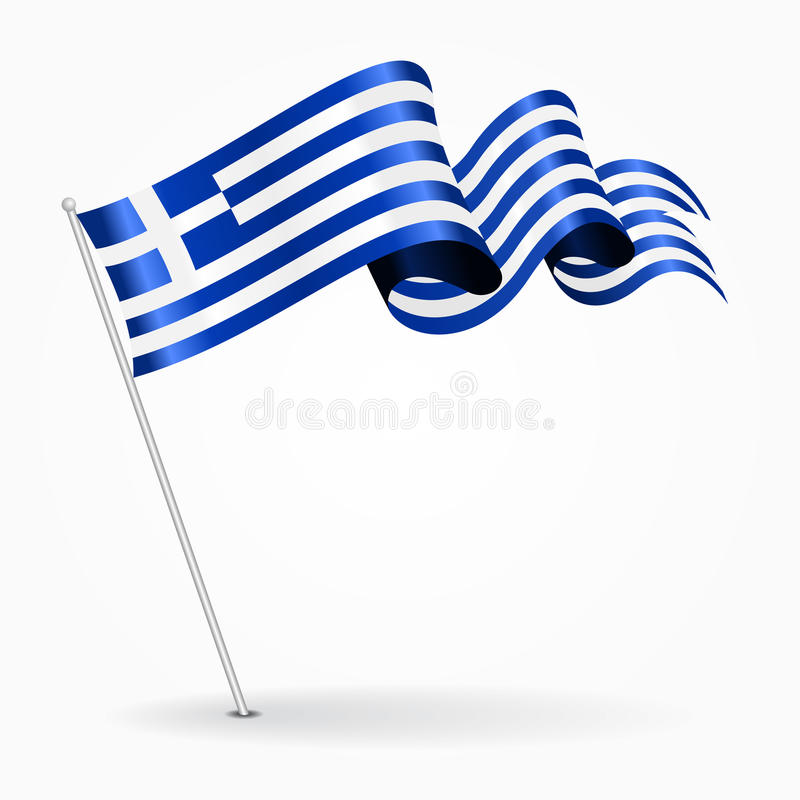 Greek pin wavy flag. Vector illustration. royalty free illustration