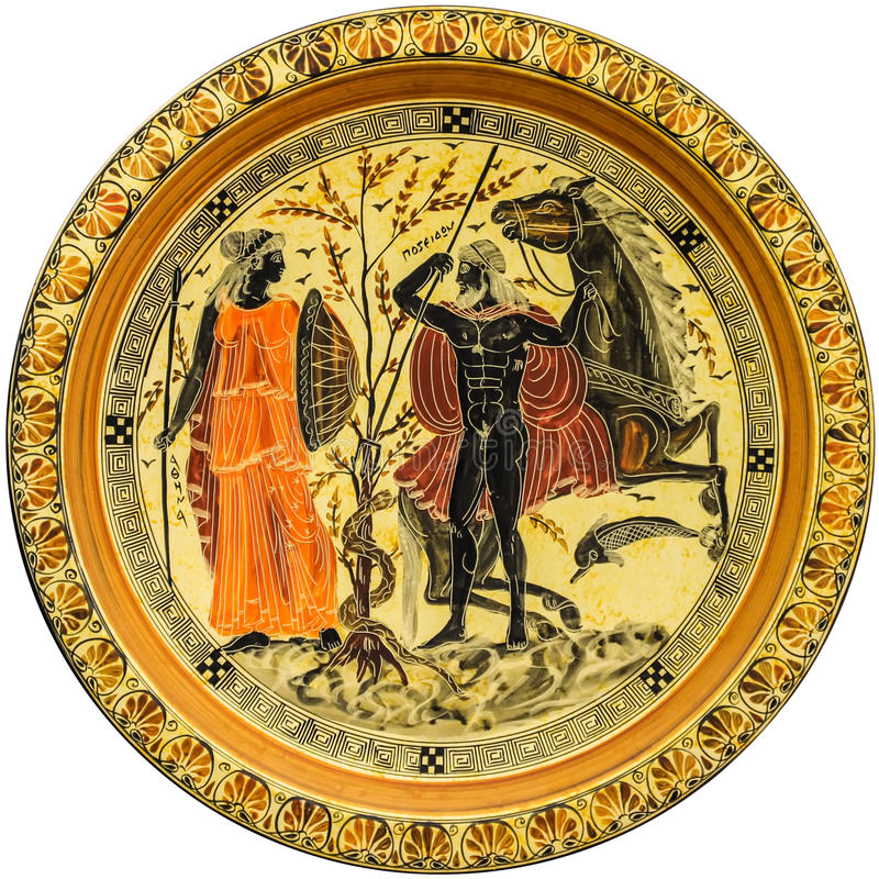 Greek plate with image of the mythological heroes royalty free stock photo