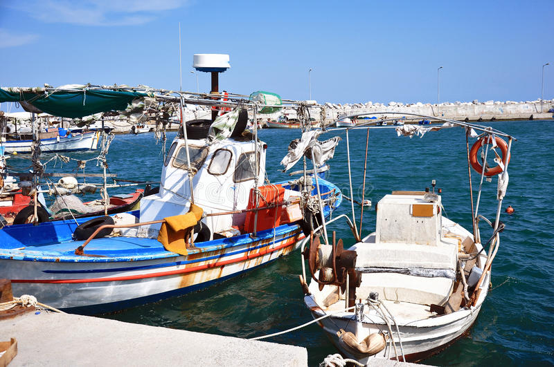 Greek port with fishing boats royalty free stock photography