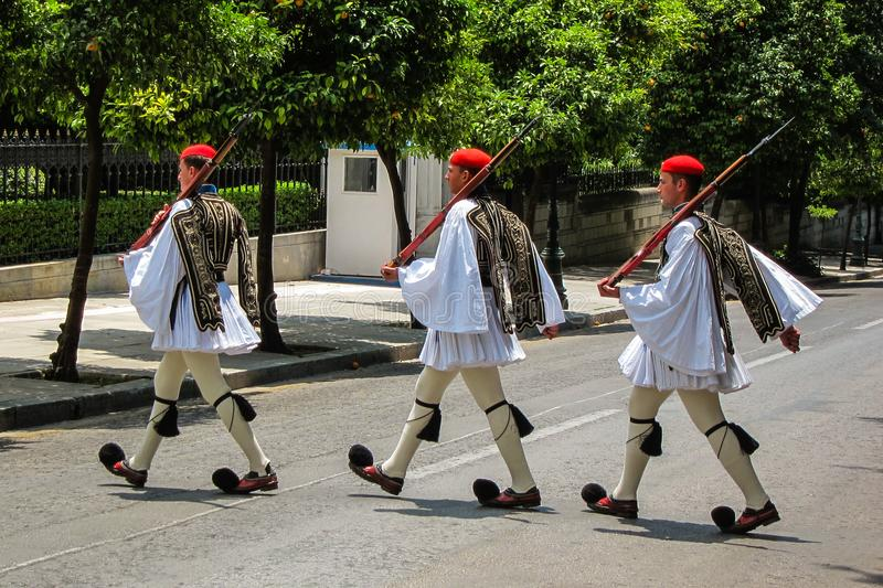 Greek Soldiers in Athens, Greece stock photography