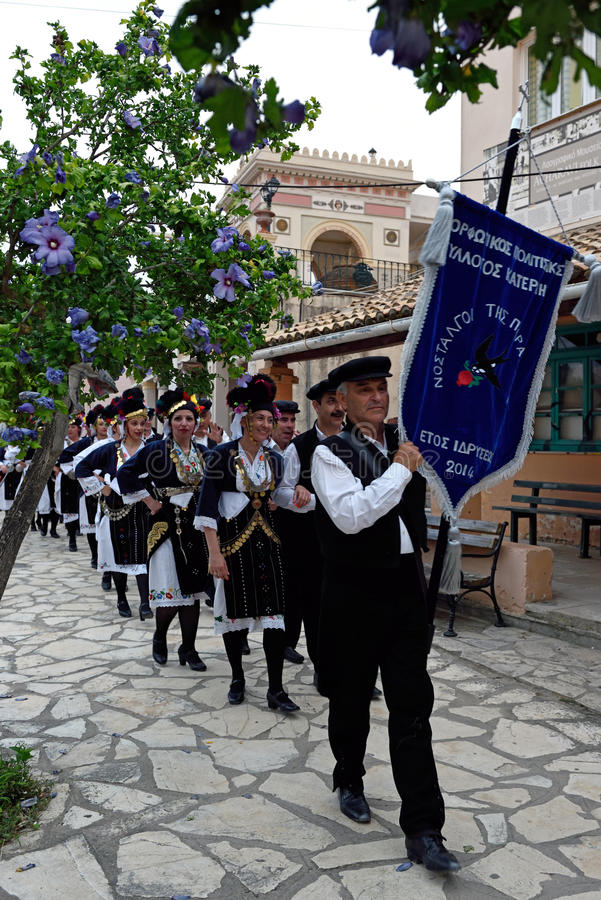 Greek Procession, Acharavi, Corfu, Greece. Greek couples dressed in national Greek costumes in Acharavi street - Greece stock photo