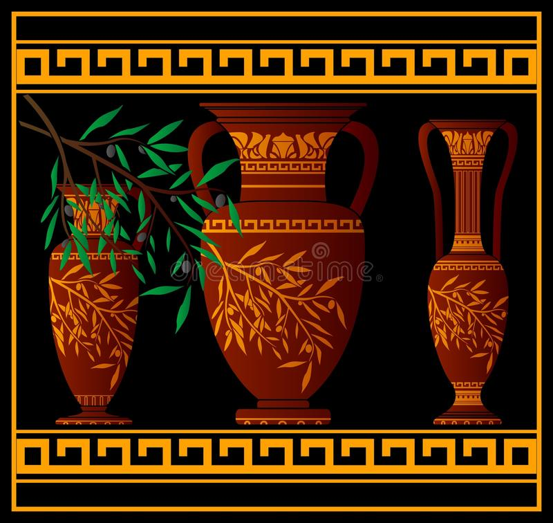 Download Greek red amphoras and jug stock vector. Image of color - 13725055